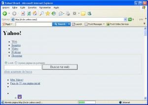Página do Yahoo sem formatação correta
