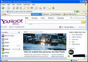 O Novo site do Yahoo exibido com a formatação correta.