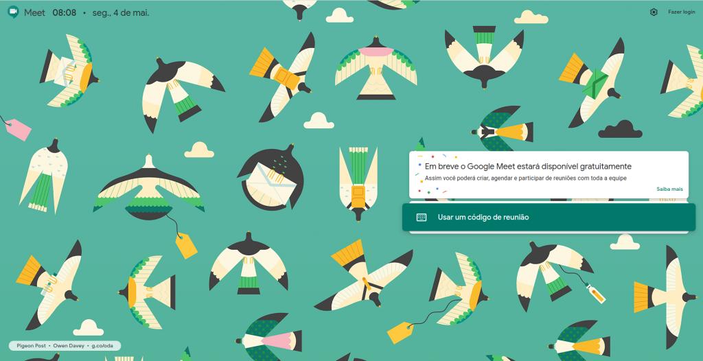 uma cópia da tela do google ao acessar o Google Meet, pedindo que aguarde a disponibilidação do recurso.
