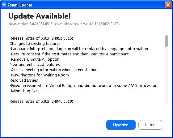 Painel anunciando a existencia de atualização para o Zoom instalado.
