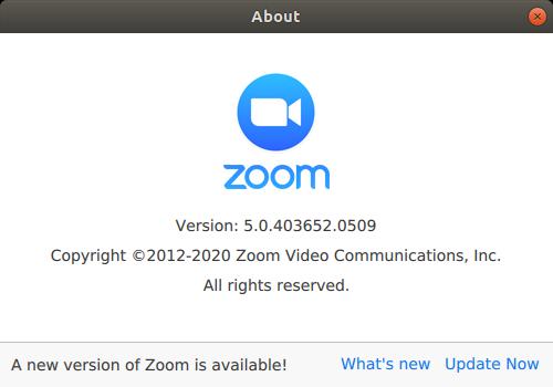 painel do zoom anunciando a atualização e dando acesso à atualização.
