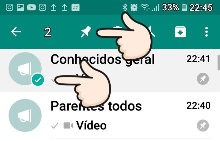 painel do whatsapp no celular com os pontos a serem usados para autorizar o reencaminhamento.